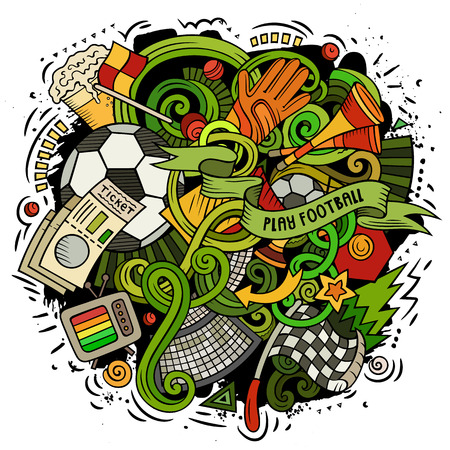 Cartoon vector doodles Football illustration. Colorful, detailed, with lots of objects background. All objects separate. Bright colors Soccer funny picture Ilustração