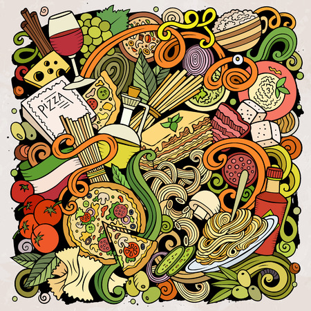 Cartoon vector doodles Italian Food illustration. Colorful, detailed, with lots of objects background. All objects separate. Bright colors Italy cuisine funny picture