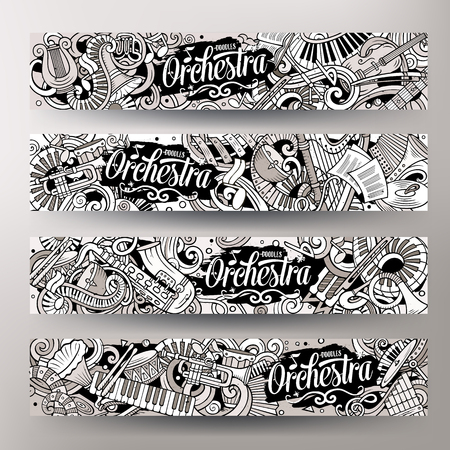 Cartoon cute colorful vector hand drawn doodles Classic music banners