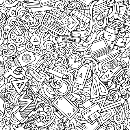 Designer supply sketchy illustration. Visual arts doodles background. Line art vector cartoon seamless pattern with hand drawn design elements
