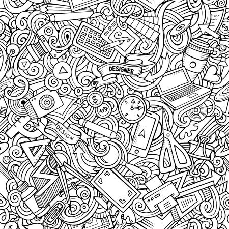 Designer supply sketchy illustration. Visual arts doodles background. Line art vector cartoon seamless pattern with hand drawn design elements