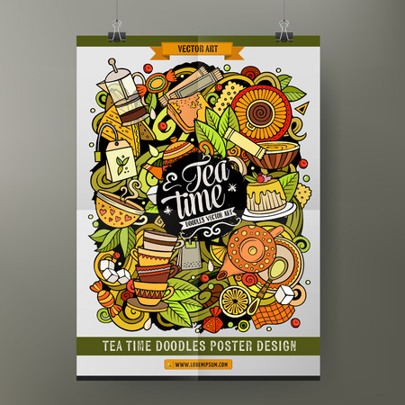 Cartoon vector hand drawn doodles Tea poster template