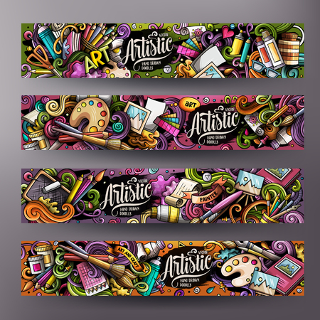 Cartoon cute colorful vector hand drawn doodles Artist corporate identity. 4 horizontal banners design. Templates set. All objects separate