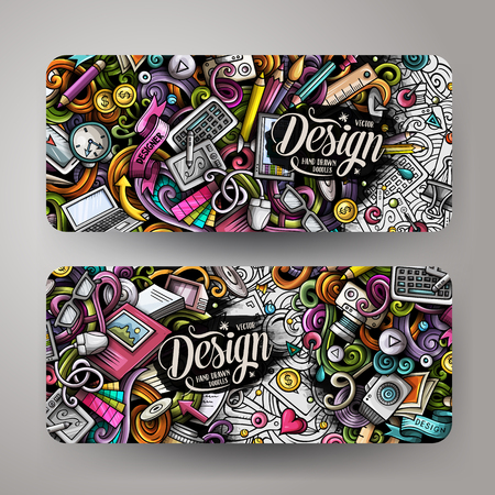 Cartoon cute colorful vector hand drawn doodles Designer corporate identity. 2 horizontal banners design. Templates set. All objects separate Ilustração Vetorial