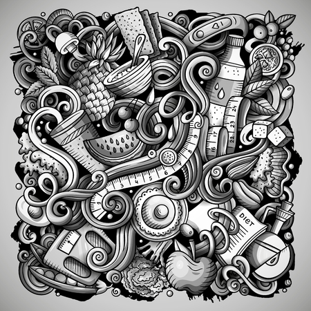 Cartoon vector doodles Diet food illustration. Monochrome, detailed, with lots of objects background. All objects separate. Toned dietary funny picture Stock Vector - 111513427