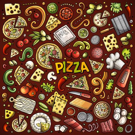 Vector cartoon set of Pizzeria objects and symbols
