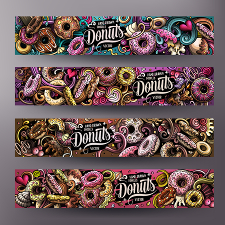 Cartoon cute colorful vector hand drawn doodles Donuts corporate identity. 4 horizontal banners design. Templates set. All objects separate Illustration