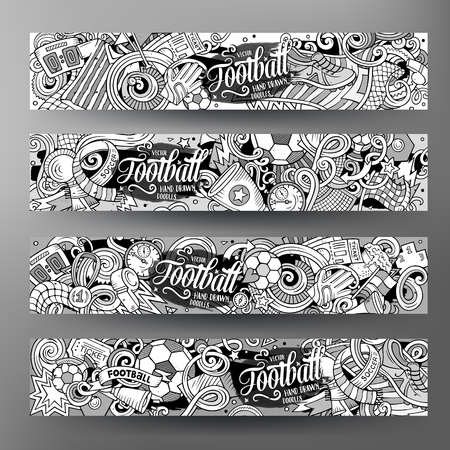Cartoon cute contour vector hand drawn doodles Football corporate identity. 4 horizontal banners design. Templates set. All objects separate
