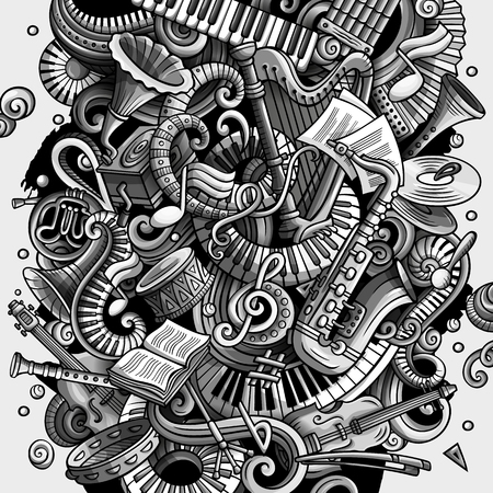 Cartoon vector doodles Disco music illustration. Monochrome, detailed, with lots of objects background. All objects separate. Toned musical funny picture  イラスト・ベクター素材