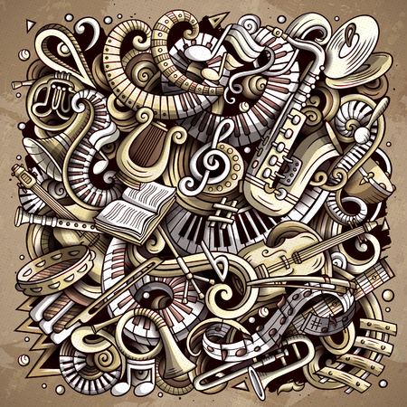 Cartoon vector doodles Disco music illustration. Monochrome, detailed, with lots of objects background. All objects separate. Toned musical funny picture Illustration