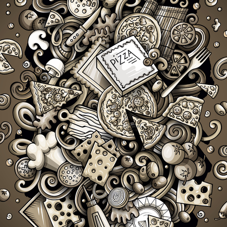 Cartoon vector doodles Pizza illustration. Monochrome, detailed, with lots of objects background. All objects separate. Toned pizzeria funny picture