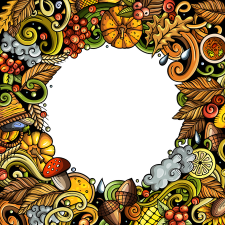 Cartoon vector doodles Autumn frame design. Colorful detailed, with lots of objects illustration. All items are separate. Bright colors fall funny border Иллюстрация
