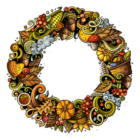 Cartoon vector doodles Autumn round frame design. Colorful detailed, with lots of objects illustration. All items are separate. Bright colors fall funny border Иллюстрация