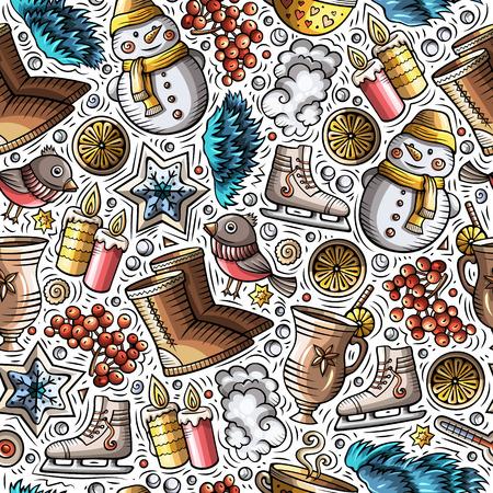 Cartoon niedliche handgezeichnete Wintersaison nahtlose Muster. Bunt detailliert, mit vielen Objekten im Hintergrund. Endlose lustige Vektorillustration. Helle Farben Kulisse
