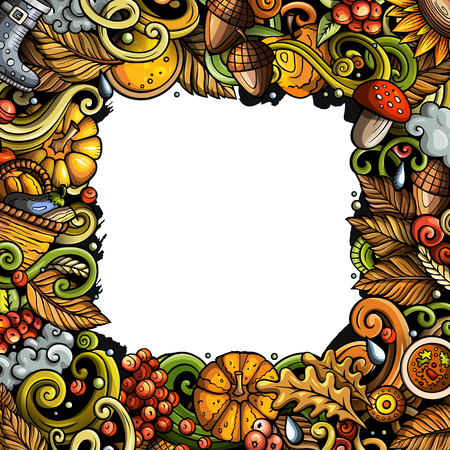 Cartoon vector doodles Autumn frame design. Colorful detailed, with lots of objects illustration. All items are separate. Bright colors fall funny border  イラスト・ベクター素材