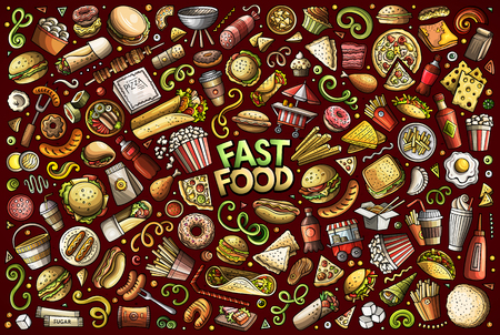 Colorful vector hand drawn doodle cartoon set of fastfood objects and symbols Vectores