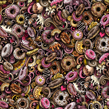 Cartoon cute doodles hand drawn Donuts seamless pattern. Colorful detailed, with lots of objects background. Endless funny vector sweet illustration. All objects separate. 矢量图像