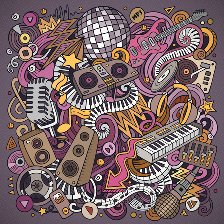 Cartoon vector doodles Disco music illustration. Colorful, detailed, with lots of objects background. All objects separate. Bright colors musical funny picture Ilustrace
