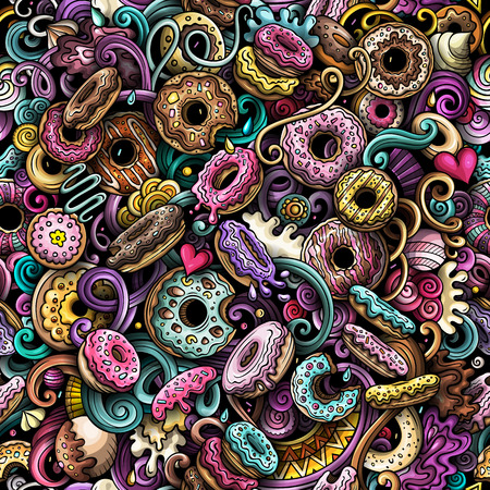Cartoon cute doodles hand drawn Donuts seamless pattern. Colorful detailed, with lots of objects background. Endless funny vector sweet illustration. All objects separate. Illustration