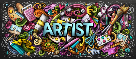 Artist supply color illustration. Visual arts doodles. Painting and drawing street art background. Color book cover. Graffiti handdrawn poster. Colorful vector cartoon banner with hand drawn doodle elements 스톡 콘텐츠 - 127746937
