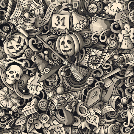 Cartoon cute doodles hand drawn Halloween seamless pattern. Monochrome detailed, with lots of objects background. Endless funny vector illustration. All objects separate. Vector Illustration