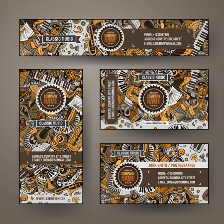 Corporate Identity vector templates set design with doodles Classic music