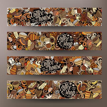 Cartone animato carino colorato vettore disegnato a mano scarabocchi caffè identità aziendale. 4 banner orizzontali design. Set di modelli. Tutti gli oggetti sono separati