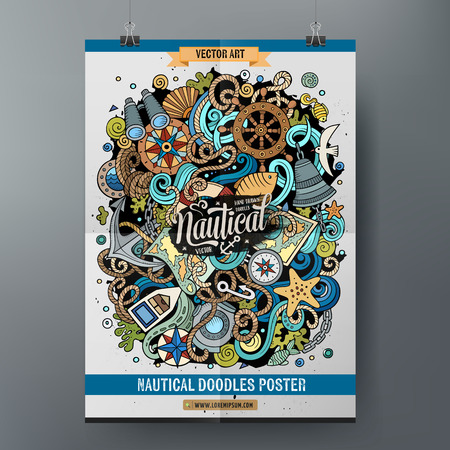 Cartoon hand drawn doodles Nautical poster design template. Very detailed, with lots of objects illustration. Funny vector artwork.