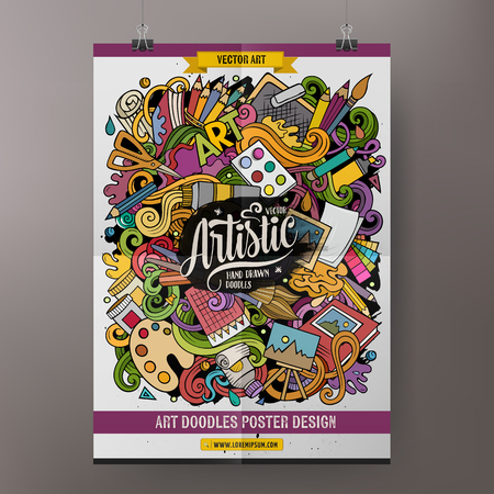 Cartoon hand drawn doodles Artist poster template. Very detailed, with lots of objects illustration. Funny vector artwork. Corporate identity design.