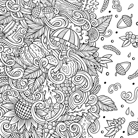Cartoon vector doodles Autumn frame design. Line art detailed, with lots of objects illustration. Sketchy fall funny border
