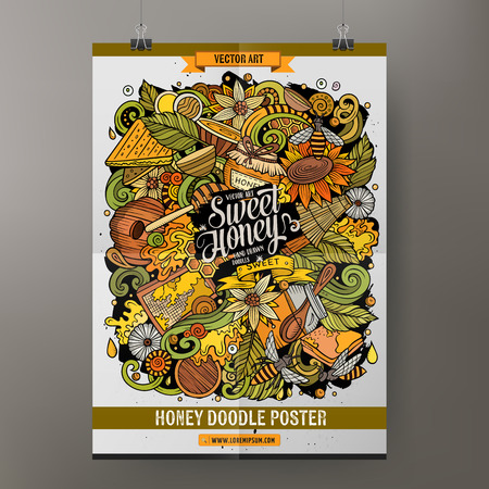Cartoon hand drawn doodles Honey poster design template. Very detailed, with lots of objects illustration. Funny vector artwork.