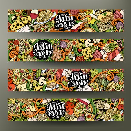 Cartoon cute vector hand drawn doodles italian food corporate identity. 4 horizontal banners design. Templates set