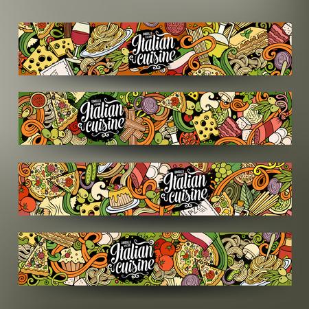 Cartoon cute vector hand drawn doodles italian food corporate identity. 4 horizontal banners design. Templates set