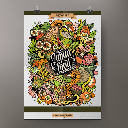 Cartoon colorful hand drawn doodles Japan food poster template. Very detailed, with lots of objects illustration. Funny vector artwork. Corporate identity design.