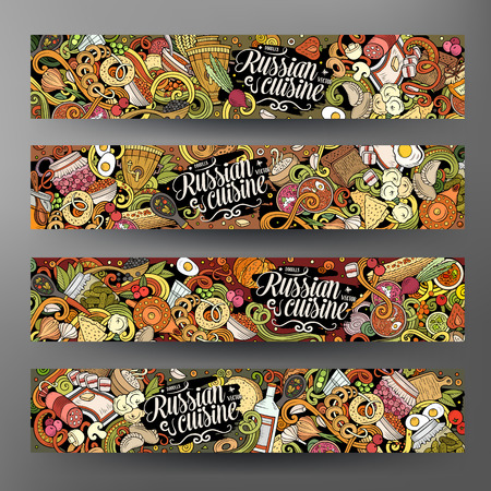 Cartoon cute colorful vector hand drawn doodles Russian food corporate identity. 4 horizontal banners design. Templates set