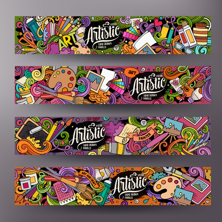 Dessin animé mignon vecteur coloré dessinés à la main doodles Identité d'entreprise de l'artiste. Conception de 4 bannières horizontales. Ensemble de modèles. Tous les objets se séparent