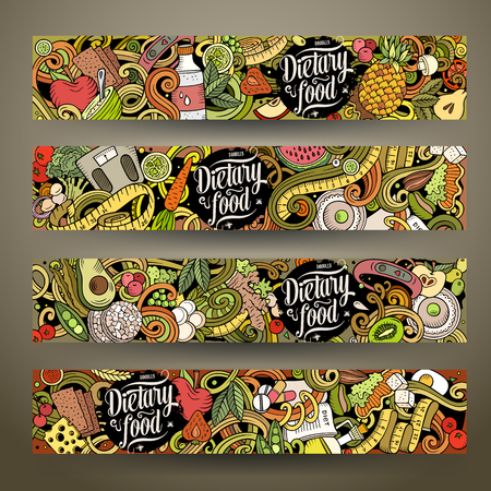 Cartoon cute colorful vector hand drawn doodles Diet food corporate identity. 4 horizontal banners design. Templates set. All objects are separate Illustration