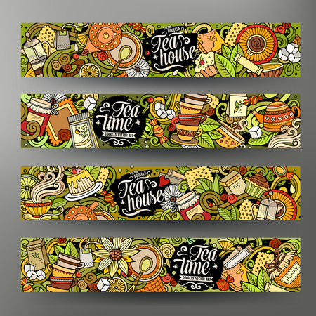 Cartoon cute colorful vector hand drawn doodles Pizzeria corporate identity. 4 horizontal banners design. Templates set. All objects separate Illustration