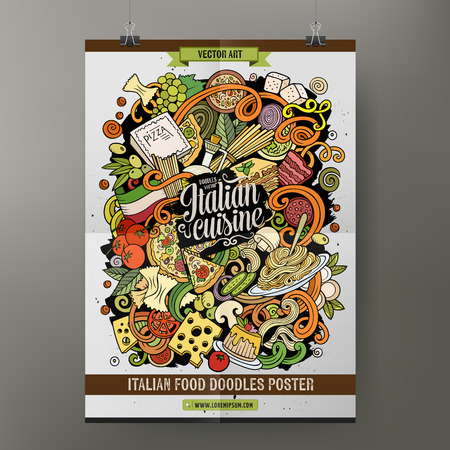 Cartoon hand drawn doodles Italian food poster template. Very detailed, with lots of objects illustration. Funny vector artwork. Corporate identity design.