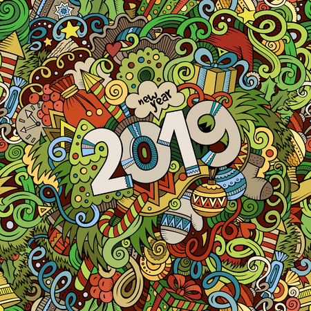 2019 hand drawn doodles colorful illustration. New Year poster. Holidays cartoon banner design element. Christmas Isolated vector  イラスト・ベクター素材