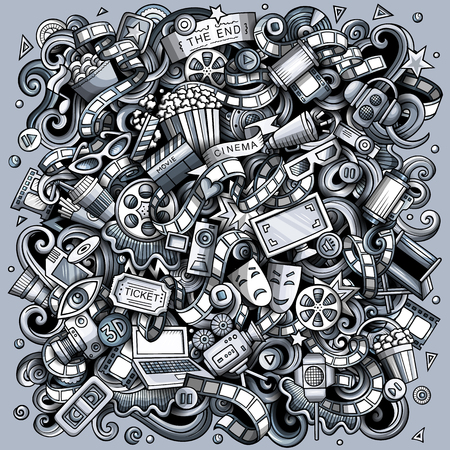 Cartoon vector doodles Cinema illustration. Toned, detailed, with lots of objects background. All objects separate. Monochrome Movie funny picture Ilustração