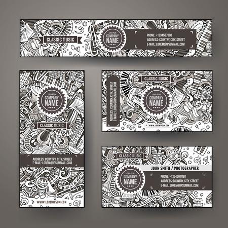 Corporate Identity vector templates set design with doodles Classic music theme Archivio Fotografico - 112585464