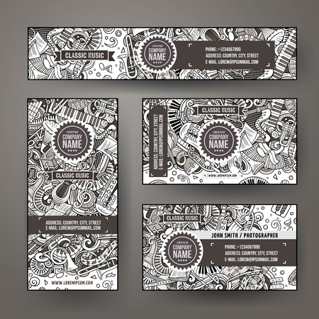 Corporate Identity vector templates set design with doodles Classic music theme Illustration