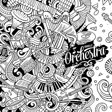 Cartoon vector doodles Classic music frame.Line art musical border