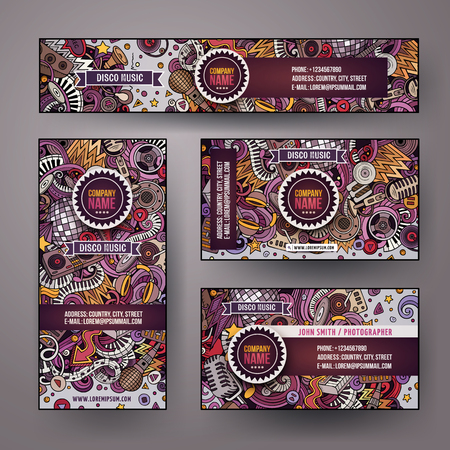 Corporate Identity vector templates set design with doodles hand drawn Disco music theme. Colorful banner, id cards, flayer design. Templates set Illustration