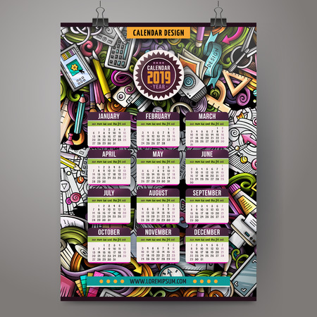 Cartoon colorful hand drawn doodles Artist 2019 year calendar template. English, Sunday start. Very detailed, with lots of objects illustration. Funny vector artwork. Çizim