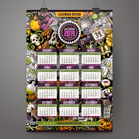 Cartoon colorful hand drawn doodles Halloween 2019 year calendar template. English, Sunday start. Very detailed, with lots of objects illustration. Funny vector artwork. Çizim