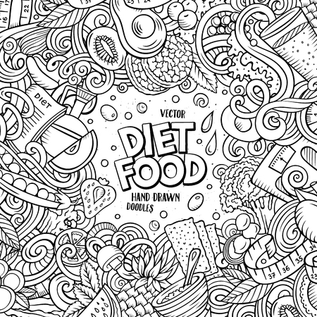 Cartoon vector doodles diet food frame. Line art, detailed, with lots of objects background. All objects separate. Sketchy dietary funny border Illustration
