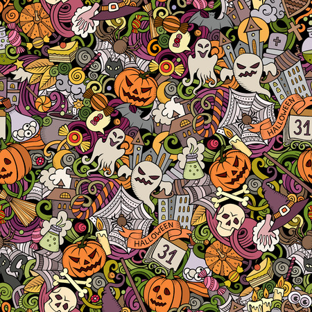 Cartoon cute doodles hand drawn Halloween seamless pattern. Colorful detailed, with lots of objects background. Endless funny vector illustration. All objects separate.  イラスト・ベクター素材