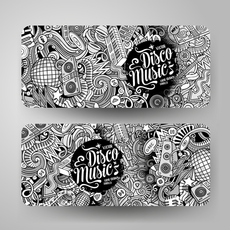 Cartoon cute line art vector hand drawn doodles Disco music corporate identity. 2 horizontal banners design. Templates set. All objects are separate
